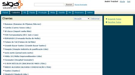 Tela do sistema do SiGA em PHP