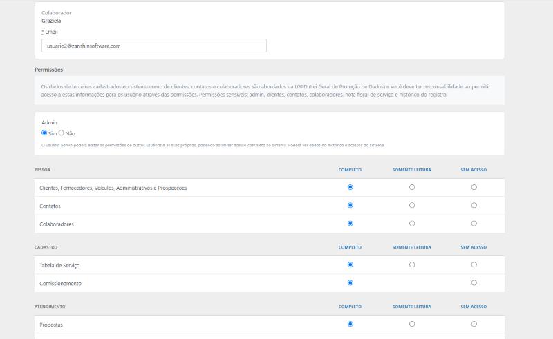 Permissões de usuários no SIGA.