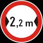 2220 - Prepovedan promet za vozila, katerih skupna širina presega določeno širino
