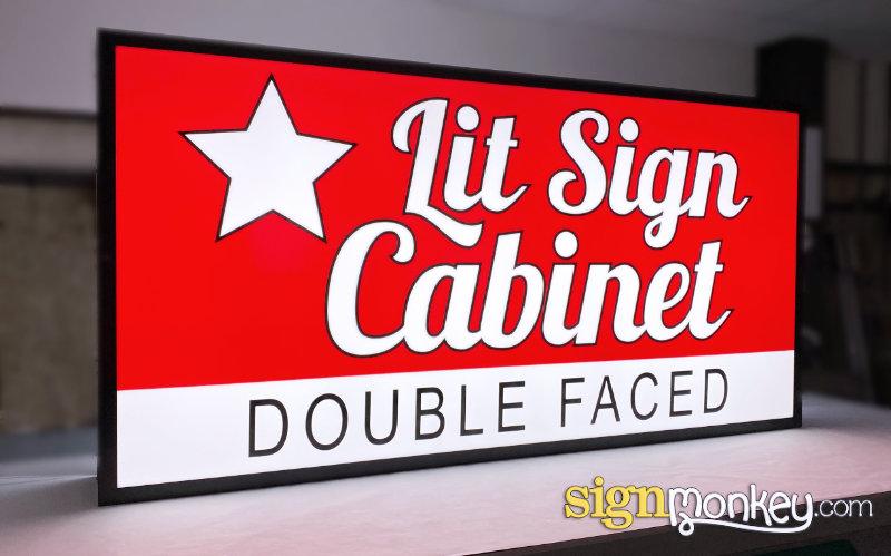 Double Face Shaped LED Lit Sign Cabinet Illumination & Power