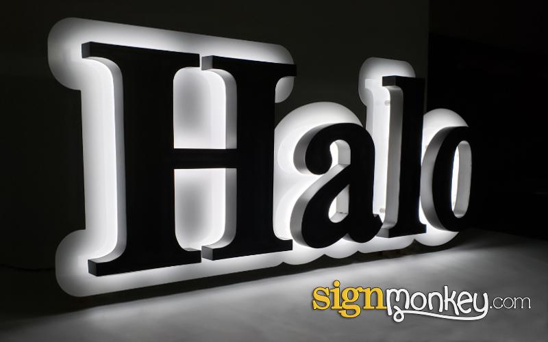 Halo Lit LED on Raceway Sign Construction