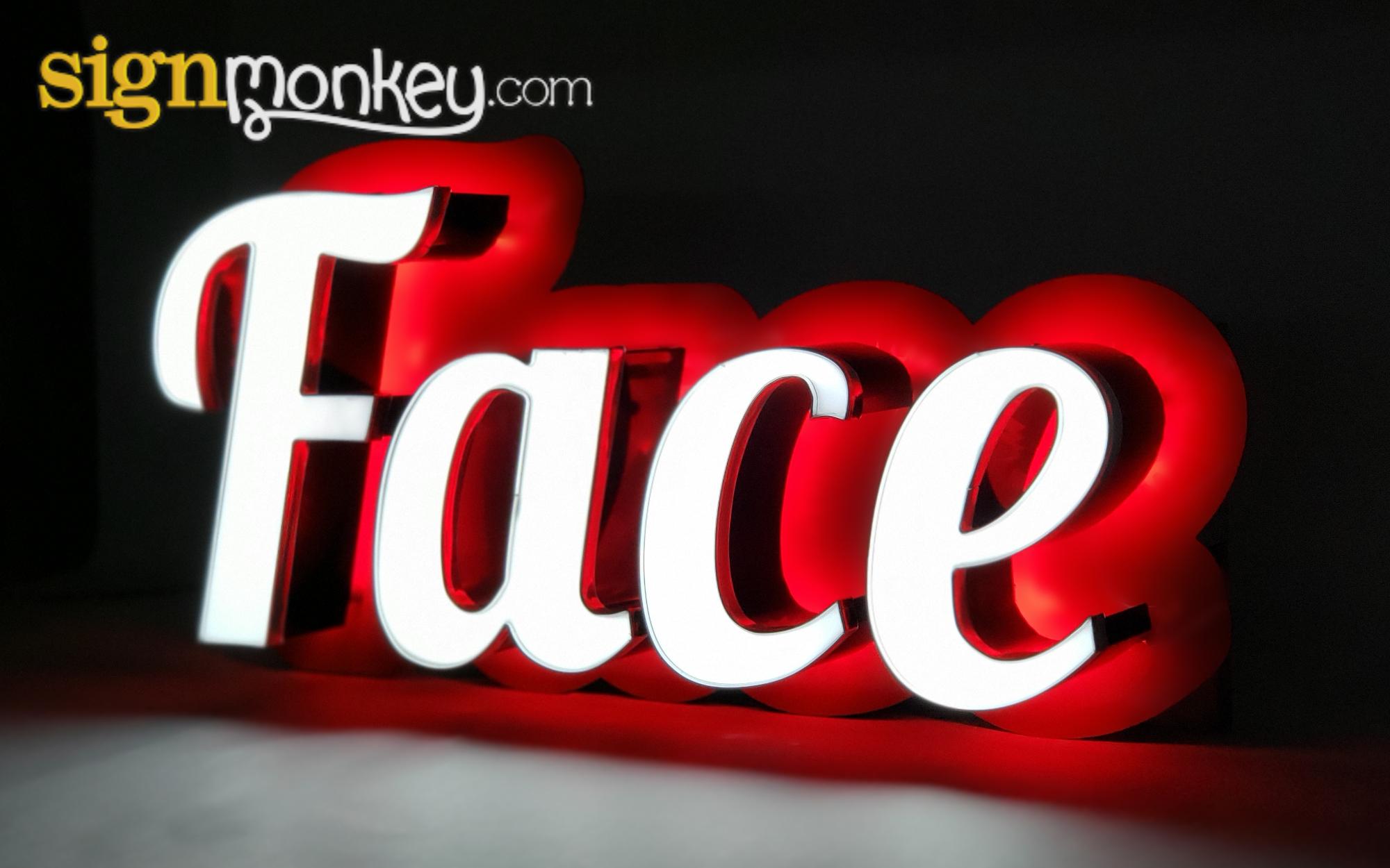 Face & Halo Lit LED Sign Construction