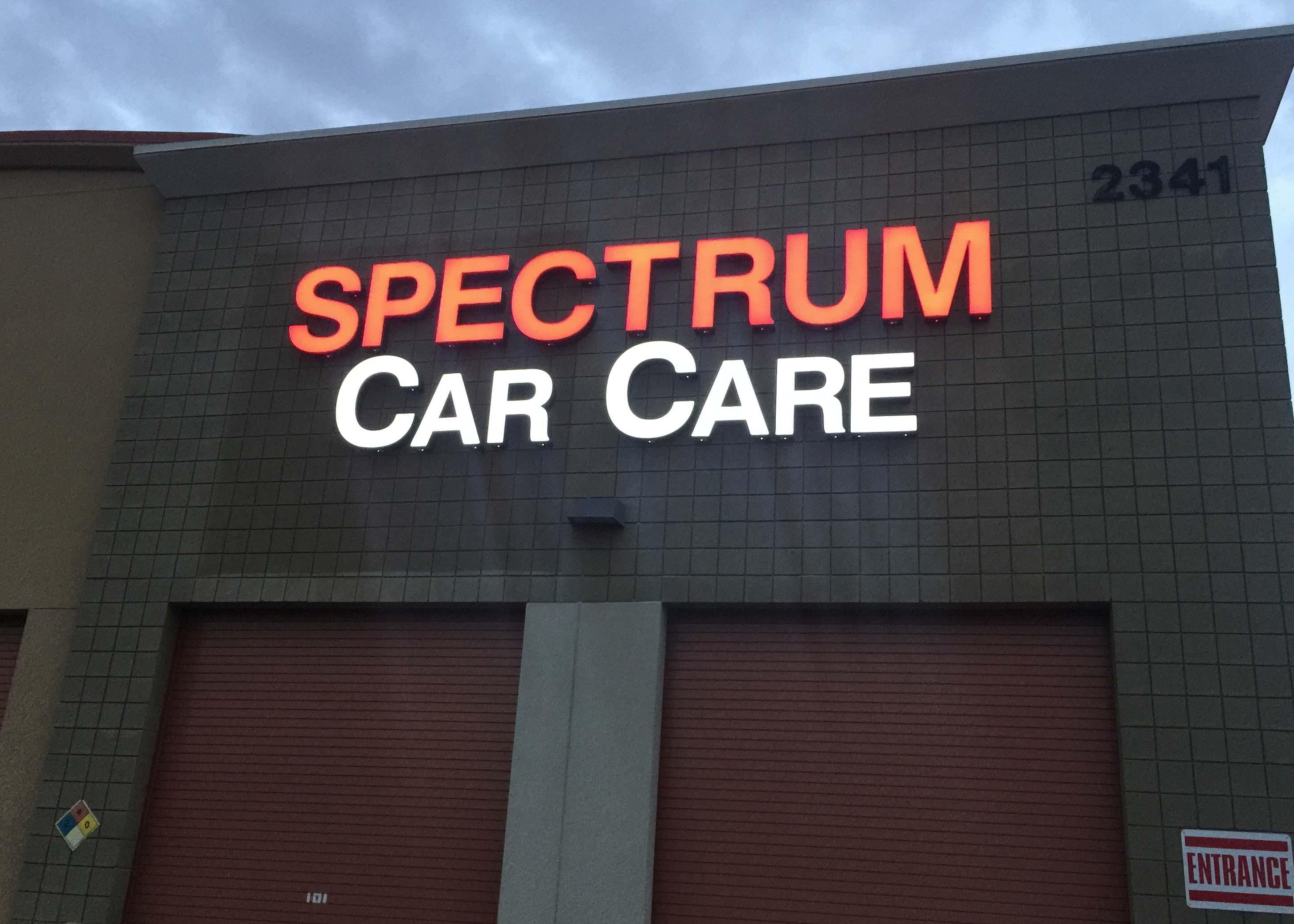 Spectrum Car Car Channel Letter Sign dusk