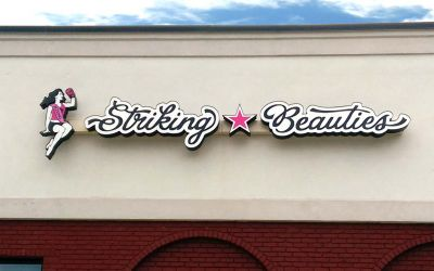 Striking Beauties Raceway Mounted channel letters logo sign