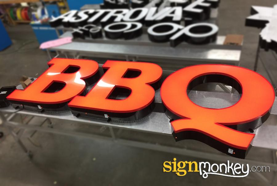 Channel Letters, Channel Letter Sign, Signs, Signmonkey Signs, Signmonkey, Lit Sign, Lit BBQ Signs, Red BBQ Signs, Lit Red BBQ Signs, Barbeque Sign, BBQ Channel Letters, Barbeque Channel Letters, Business Signs, Letter Signs, Direct Mount Signs, Direct Mount Letters, Direct Mount Channel Letters