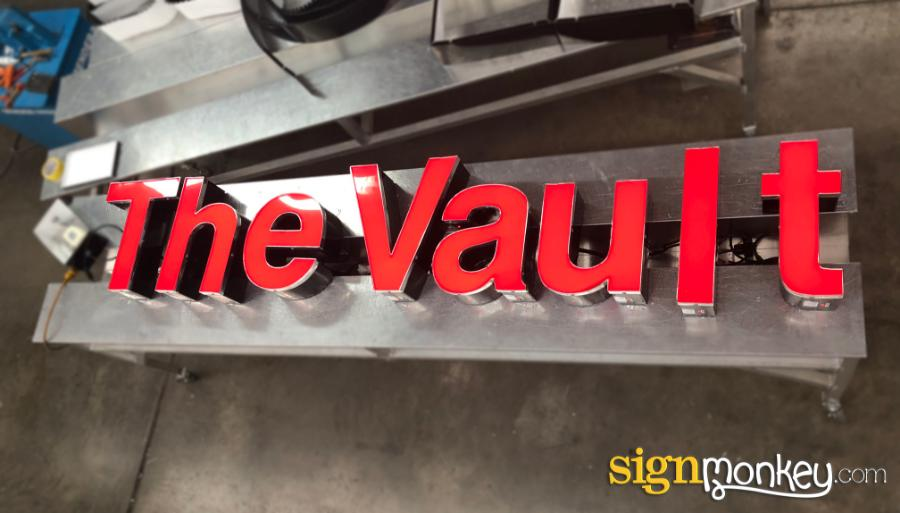Direct Mount Sign, Red Sign, Direct Mount Red Sign, Channel Letter Sign, Red Channel Letter Sign, The Vault Sign, Company Signs, Cool Signs, Signmonkey, Signmonkey Signs, Pretty Signs, Lit Signs, Red Lit Sign, LED Lit Sign, Pretty Red Signs, Direct Mount Red Channel Letters