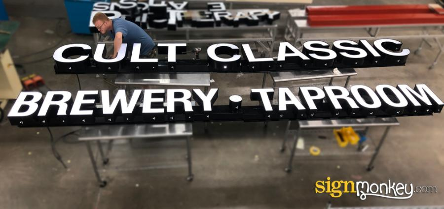 White Channel Letter Sign, Channel Letters On Raceway, White LED Channel Letter Sign On Raceway, Brewery Channel Letter Sign, Brewery Signs, Raceway Signs, Signmonkey, Signmonkey Signs, Pretty Signs, Bar Signs, White LED Signs, Taproom Signs, Raceway