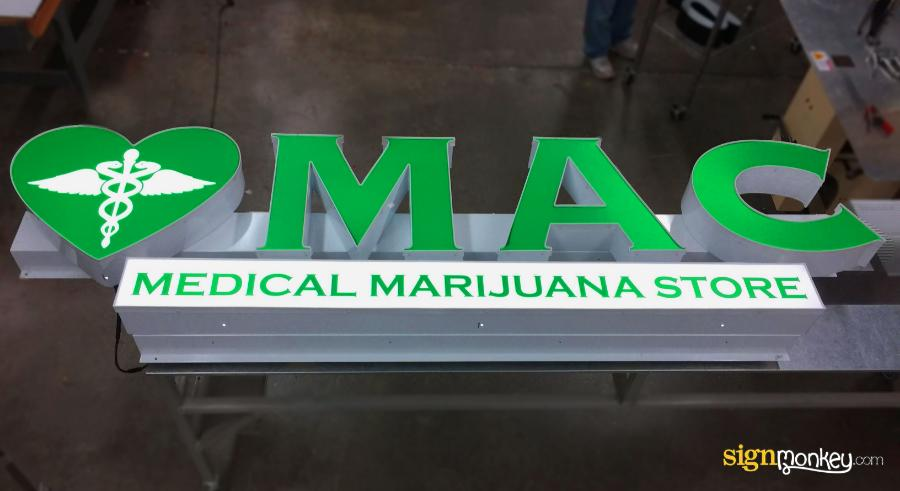 Raceway Signs, Medical Signs, Marijuana Signs, Green Signs, Pretty Signs, Bright Signs, Signmonkey, Signmonkey Signs, Raceway, Lit Signs, LED Signs, Channel Letters Signs, Green Channel Letters Sign, Business Signs, Shape Sign, Custom Shape, Custom Signs, Cool Signs, Raceway