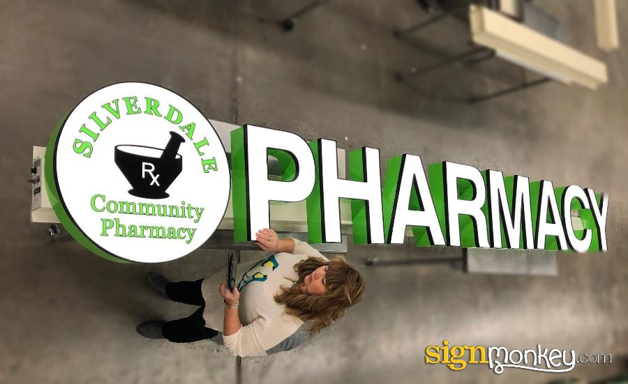 Pharmacy Sign, Channel Letter Signs, Logo Shape Signs, Sign, Signmonkey, Signmonkey Signs, Logo Shape Pharmacy Sign On Raceway With Logo, Logo Sign On Raceway