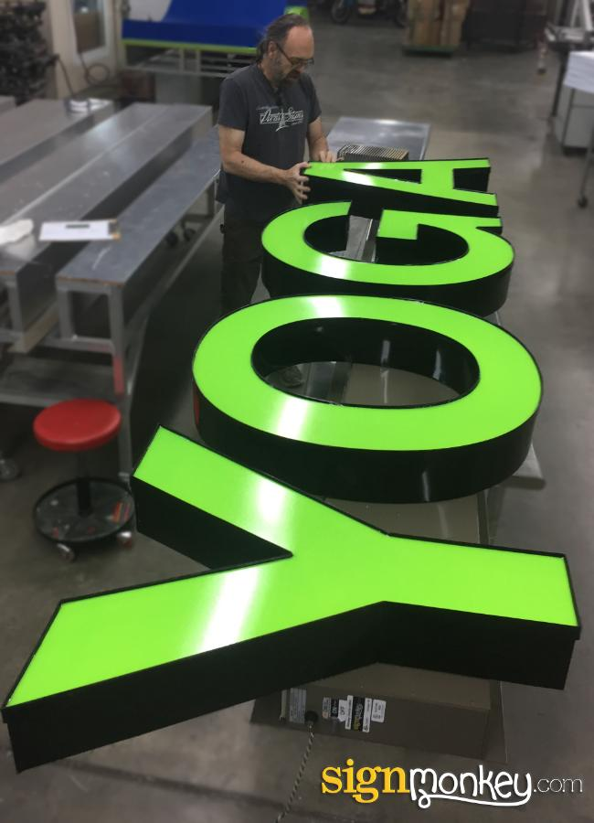 Channel Letters, Green Channel Letters, Channel Letters On Raceway, Bright Green Signs, Pretty Signs, LED lit Signs, Green LED Signs, Signmonkey Signs, Signmonkey, Cool Signs, Yoga Signs, Yoga Business Signs, Cheap Yoga Signs, Signs, Affordable Yoga Signs, Affordable Signs, Wholesale Yoga Signs, Wholesale Signs, Pretty Signs, Bright Signs