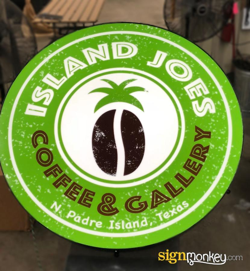 Self Contained Sign, Round Signs, Coffee Shop Signs, Green Signs, Coffee Shop Signs, Bright Signs, Pretty Signs, LED Signs, Cheap Signs, Affordable Signs, Design Signs Online, Island Joes Coffee Shop Sign, Coffee Bar Signs, Round Shape Signs, Custom Signs, Signmonkey Signs, Signmonkey, Quality Signs