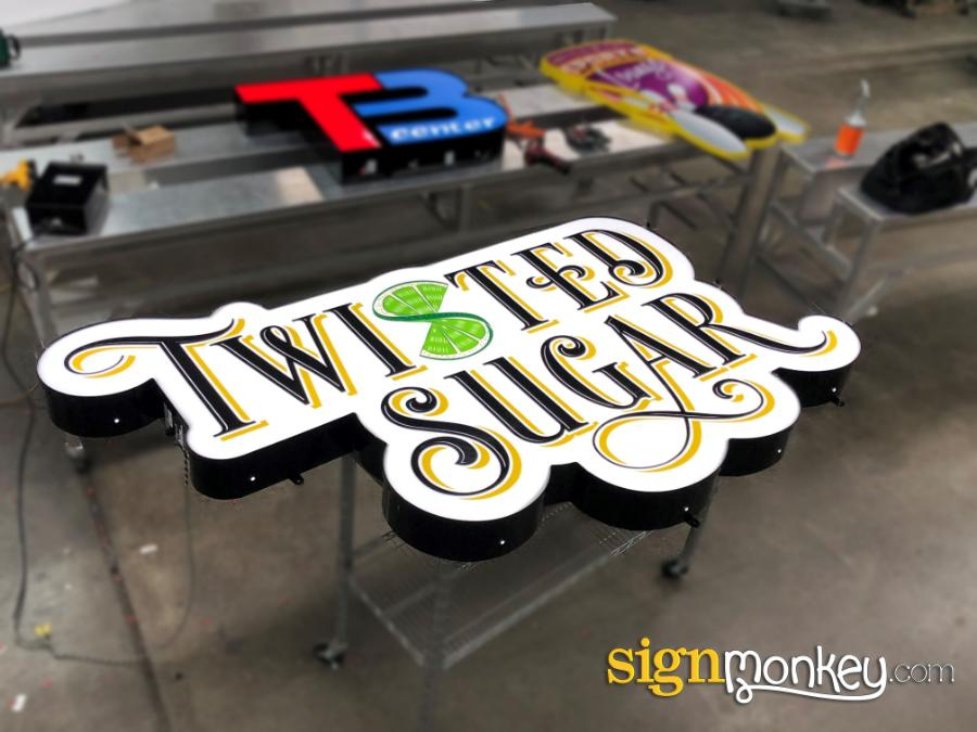Shaped Signs, Self Contained Signs, Cool Signs, Twisted Sugar Signs, Bakery Signs, Business Signs, Pretty Signs, Self Contained Pretty Signs, Signmonkey, Signmonkey Signs, Shape Sign, Custom Shape, Customizable Signs, Custom Shape Signs