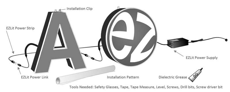 EZlit Channel Letters Installation Parts Included