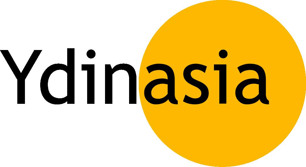 Ydinasia-hankkeen logo. Logossa teksti ydinasia. Asia-sana on keltaisen ympyrän sisällä.