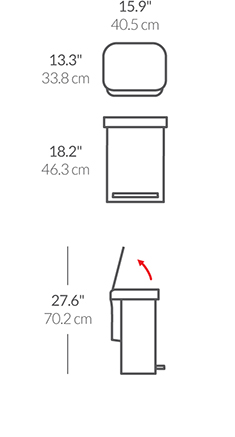 30L rectangular step can with liner pocket
