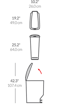 40L slim plastic step can