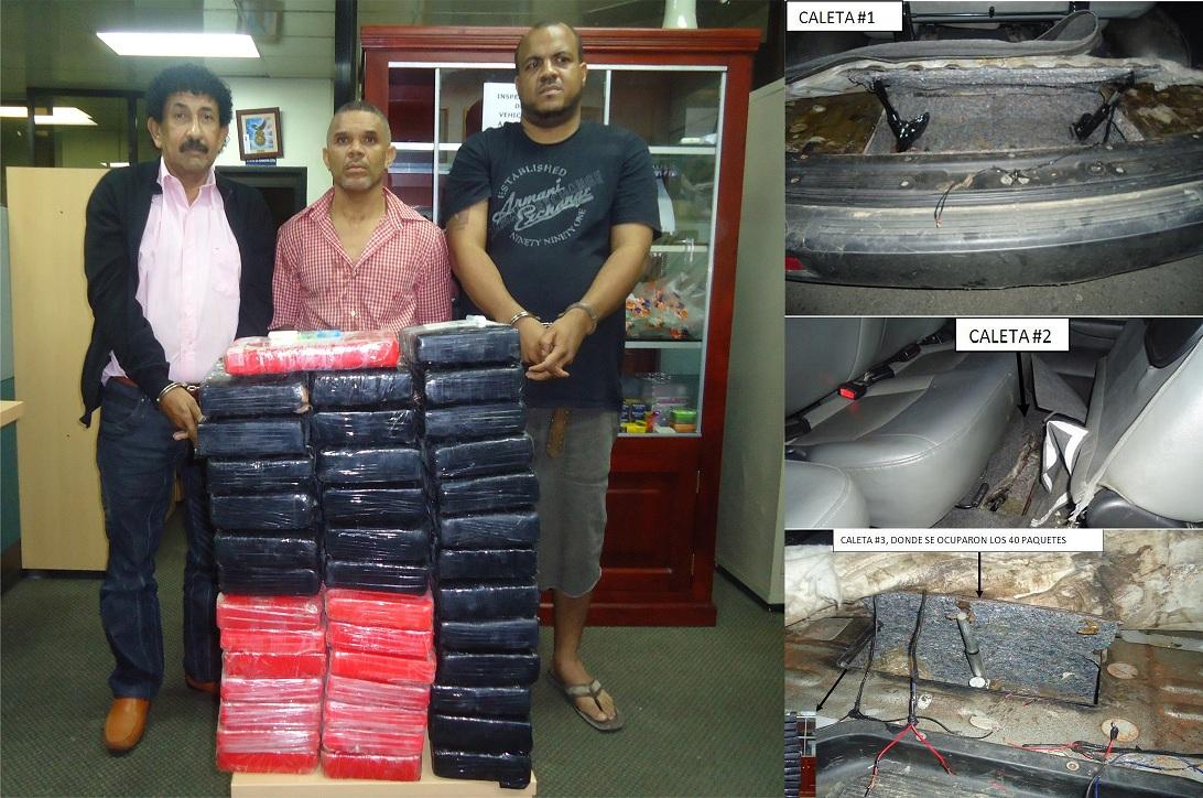 DNCD ocupa 40 paquetes de cocaína a venezolano y dos dominicanos