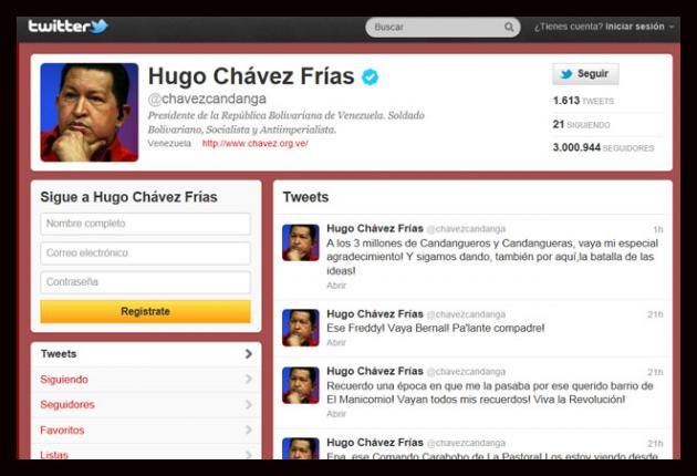 Chávez llega a tres millones de seguidores en Twitter
