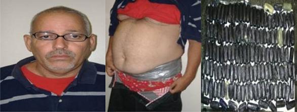 Apresan hombre iba a Nueva York con 130 bolsas de cocaína adheridas a la cintura