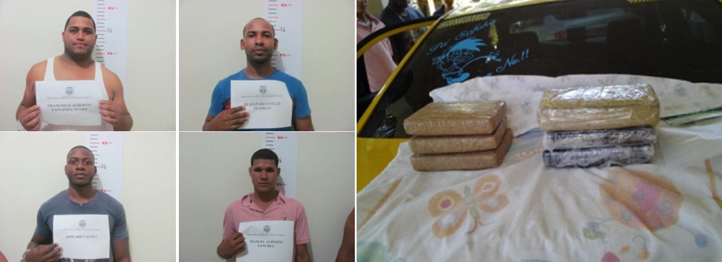 DNCD apresa 4 hombres viajaban en vehículo con 6 paquetes de cocaína