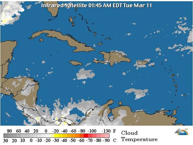 Sistema frontal sobre la porción oriental de Cuba; Chubascos aislados para hoy