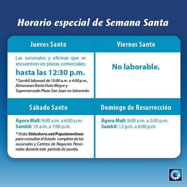 Horarios de algunos bancos en Semana Santa