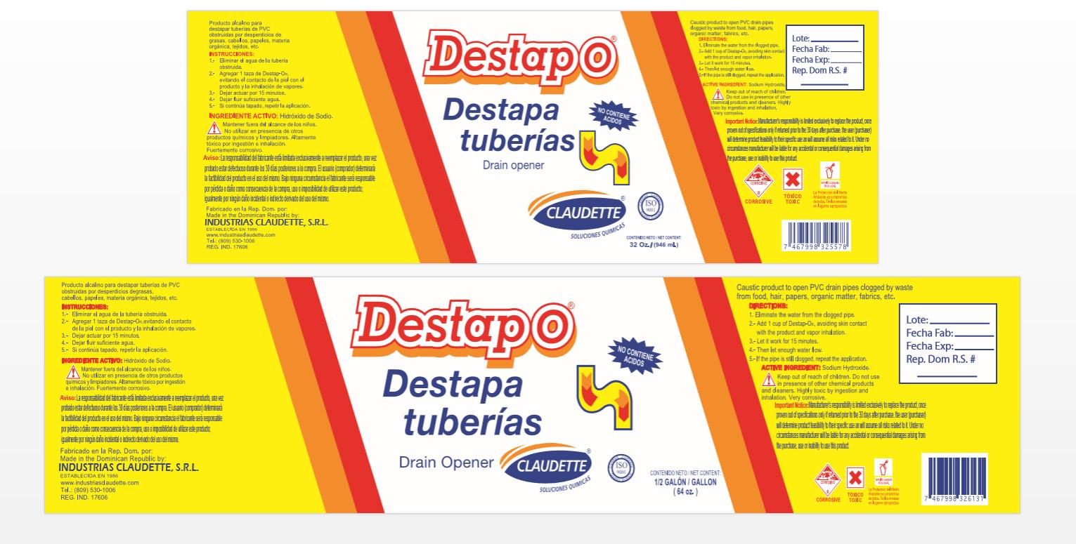 """Aclaran destapador de tuberías """"Destapo"""" no contiene ácidos prohibidos"""