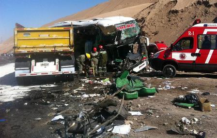 Mueren 13 personas al chocar camión y autobús en el norte de Bolivia
