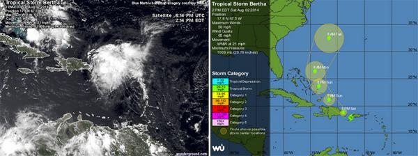 Seis provincias en alerta máxima ante paso de la tormenta Bertha