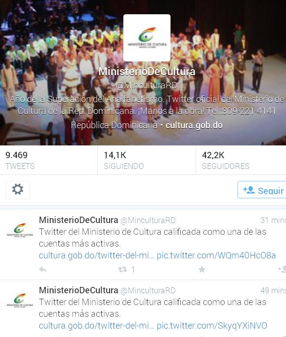 Twitter del Ministerio de Cultura es uno de los más activos, dice estudio