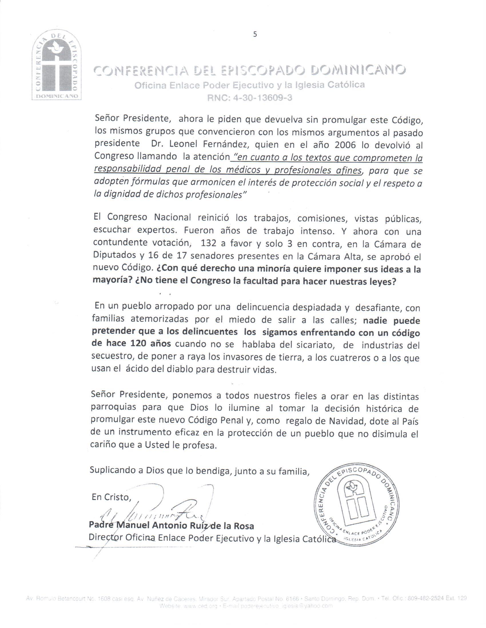 Episcopado envía carta a Medina pidiéndole que promulgue nuevo Código Penal