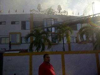 Investigan origen de incendio en el Estadio Cibao