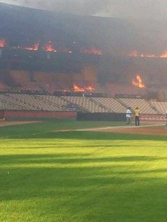 Incendio afecta oficinas de las Águilas Cibaeñas en Santiago
