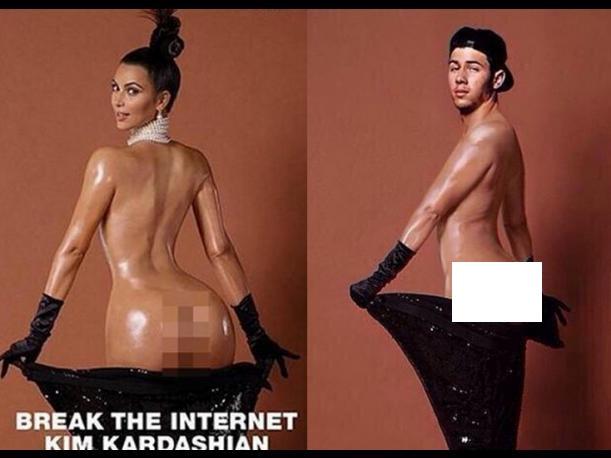 Los Jonas Brothers parodian fotos de Kim Kardashian desnuda