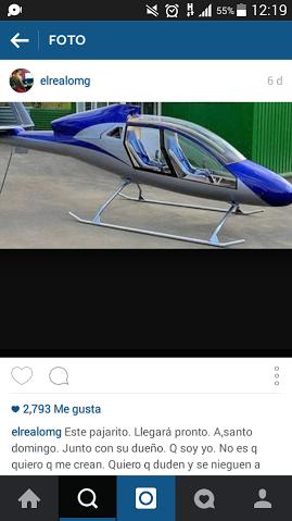 Omega publica foto de lujoso helicóptero que compró