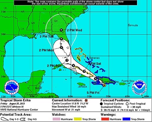 Erika provoca fuertes ráfagas de viento y abundantes lluvias en todo el territorio nacional