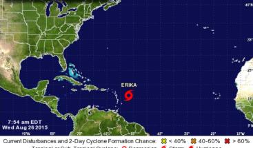 Tormenta tropical Erika se fortalece y apunta a Florida
