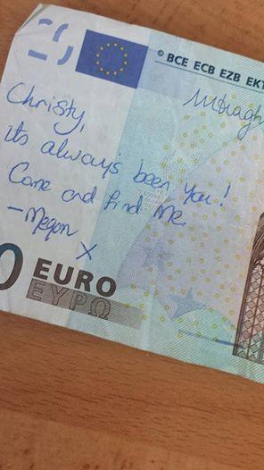 Pareja se encuentra por mensaje viral en Internet dejado en un Euro