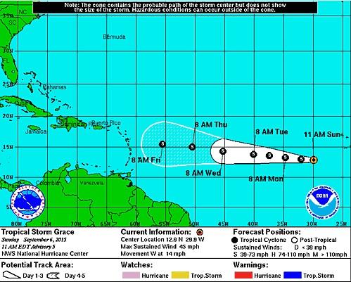 La tormenta tropical Grace se fortalece en aguas del Atlántico