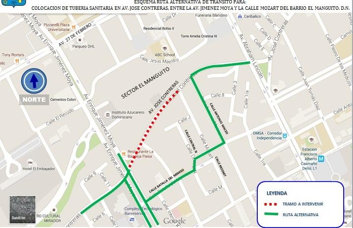 CAASD anuncia cierre tramo avenida José Contreras desde la Jiménez Moya hasta cerca de la Abraham Lincoln