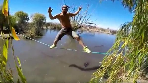 ¡Sobre cuerda floja! Un equilibrista cruza lago repleto de hambrientos caimanes