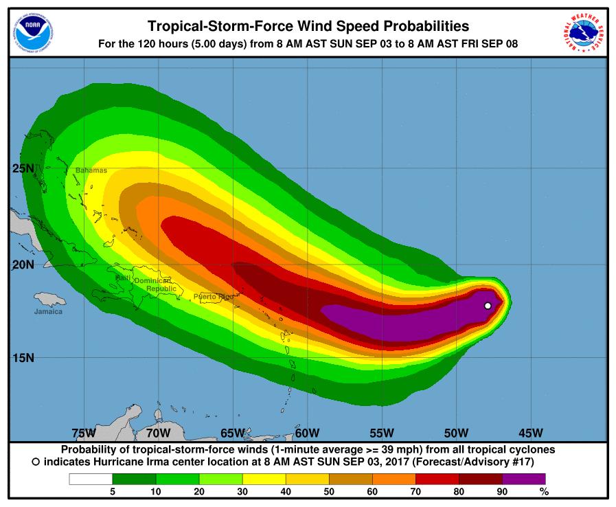 Irma vuelve a ser un huracán de categoría 3 en su ruta hacia el Caribe