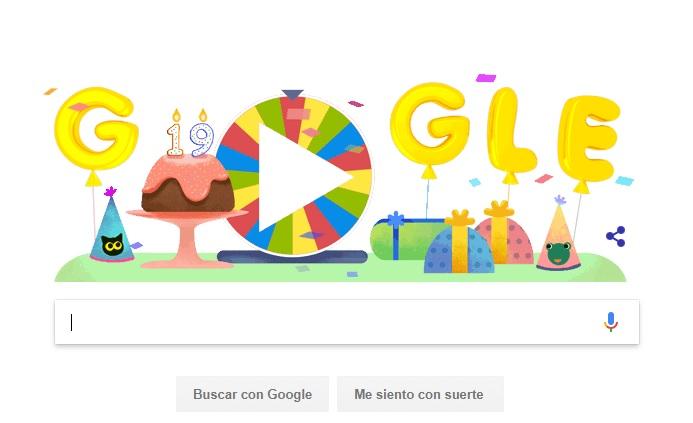 Ruleta de la fortuna del cumpleaños de Google