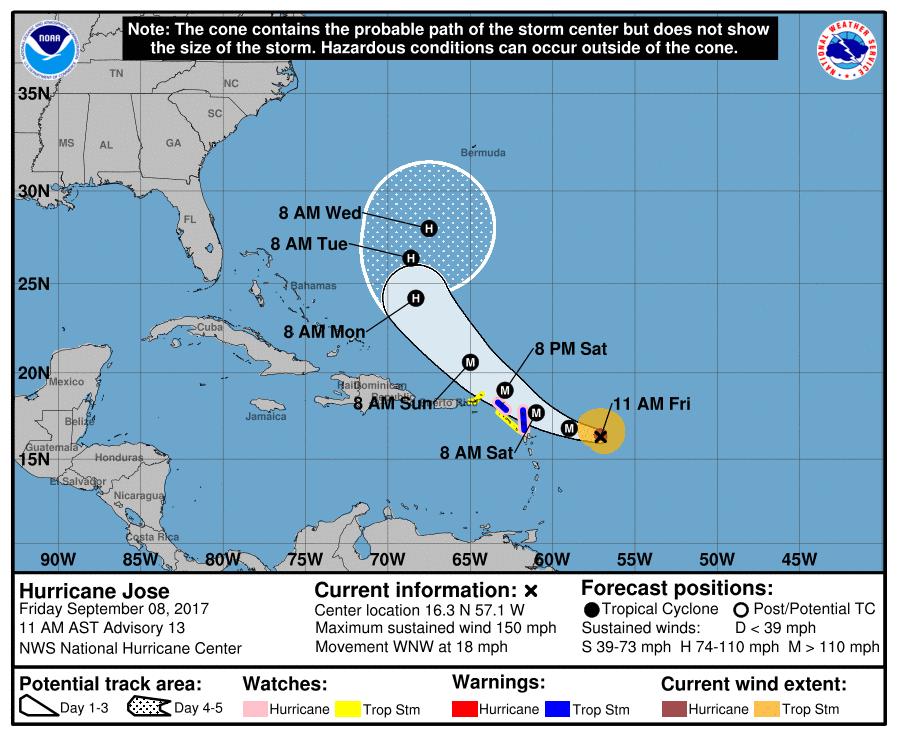 El huracán José sube a categoría 4 horas mientras se acerca a las Antillas