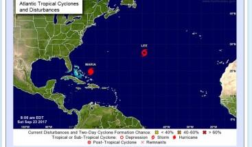 María se aleja de tierra y Lee puede llegar a huracán este fin de semana