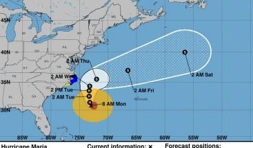 El huracán María se aproxima a la costa sureste de EEUU con categoría 1
