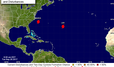 Huracán María azota la costa sureste de EEUU y Lee se fortalece a categoría 2