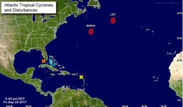 Tormentas tropicales Lee y María se adentran en aguas abiertas del Atlántico