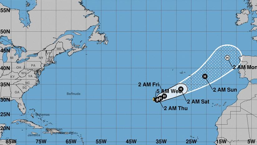 Un huracán se dirige hacia Portugal y España