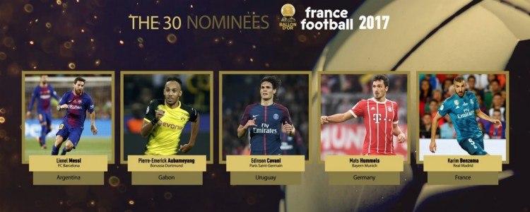Messi, Cavani y Benzema, aspirantes al Balón de Oro
